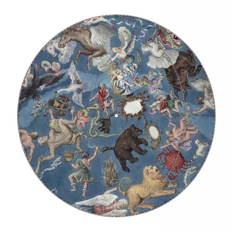 Карта звездного неба Большого академического (Готторпского) глобуса